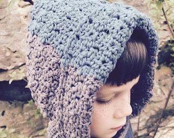 Crochet Pattern PDF - Color Blocked Hoodie Hat - 8 Sizes - Baby, Kids, Teen & Adult