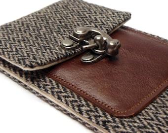 Smartphone wallet - gray herringbone and brown leather