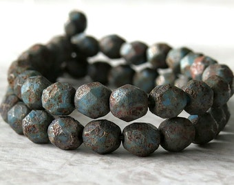 6mm Chrysocolla Stone Copper Czech Glass Bead Faceted Round : 25 pc Chrysocolla 6mm Rustic Round Bead