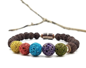 EO Diffuser Bracelet || Muted Multi-color Lava with Copper and Steel || Aromatherapy Jewelry || Mosquito Repellent Bracelet || Free EO