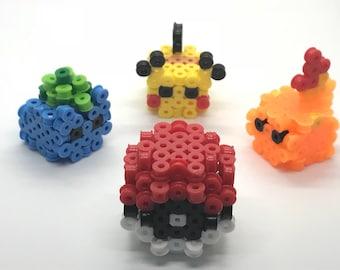 3D pokeball, pikachu, bulbasaur, and charmander