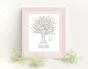 Thumbprint Tree Baby Shower Guest Book Print - Digital File Only