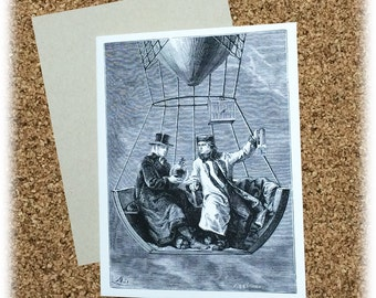 Romantic Greeting Card I Can Take You Places You've Never Been Before Hot Air Balloon Steam Punk Victorian Black & White