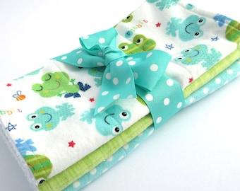 Baby Burp Cloth Set - Set of 3 - Gender Neutral - Aqua and Green Frog Print, Green Plaid, Aqua Polka Dot - Cotton Flannel - White Terrycloth