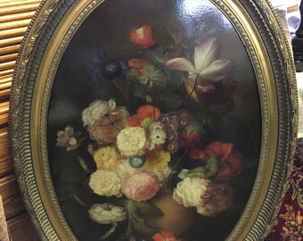 Oval Giclee Floral Painting, Vintage Painting