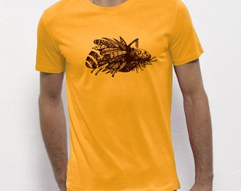 Hand Screenprinted T-shirt / Insect / Yellow