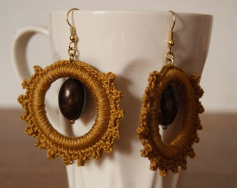 Crochet Brown cotton thread and Brown Pearl Earrings