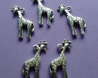 5 Giraffe Charms Silver - CS3025