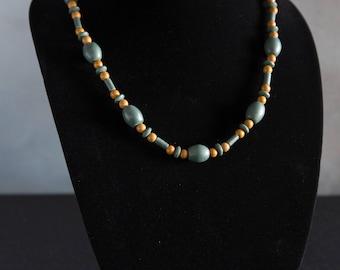 Vintage handmade clay bead necklace