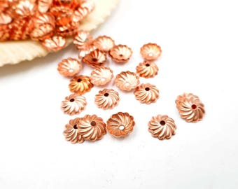20/50 Rose Gold Plated Bead Caps - 18-1A