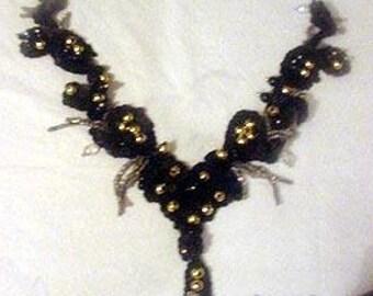 Sequins & Beaded Black Gold Neckline Applique
