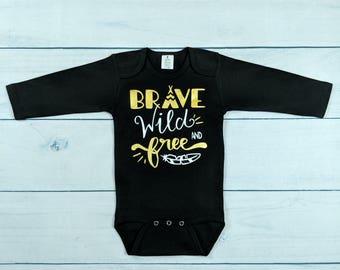Brave Wild and Free bodysuit black long sleeve