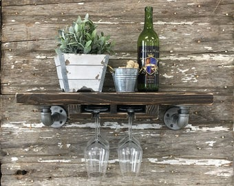 Busing Stemware Shelf // Solid Wood Shelf // Modern Rustic // Industrial Pipe Shelf // Wine Shelf // Bar Shelf