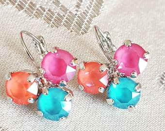 Cluster Drop Earrings - Pink, Coral and Teal