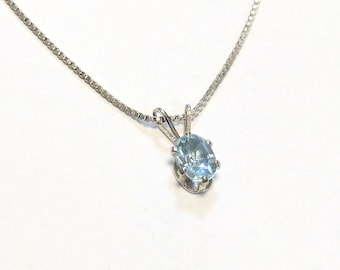 Small Sterling Silver Aquamarine Pendant
