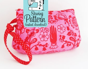 Poppy Wristlet PDF Sewing Pattern | Intermediate sewing project to make a zip top handbag wristlet clutch purse or make up or cosmetics bag.