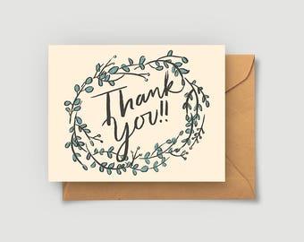 Thank You Card - Greeting - Eucalyptus - Blank Card