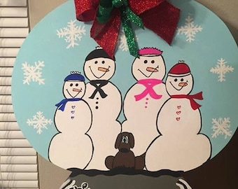 Snowglobe/snowman/family/winter/christmas/door hanger/decor