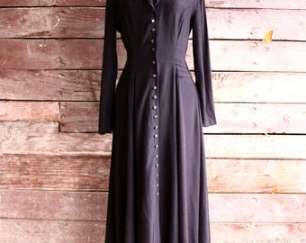 80s black satin maxi dress - long sleeve witchy button front dress - wicca goth witch clothing - gypsy dark magic - swing dress - medium