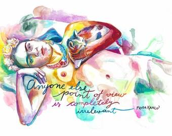 Frida Kahlo poster Inspirational women gift Feminism Frida Kahlo print The future is female Mexican folk art Cat lover gift for painter