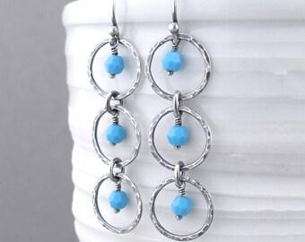 Turquoise Earrings Boho Earrings Blue Drop Earrings Blue Crystal Earrings Long Beaded Earrings Bohemian Jewelry - Adorned Aria