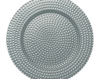 """24 PACK - 13"""" Round Metallic SILVER HAMMERED Design Round Plate Chargers for Dinners, Weddings, Table Setting, Events, Decoration."""