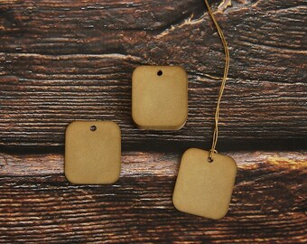 Square Hang Tags ~ Coffee Stained ~ Handmade ~ Christmas Gift Tags ~ Primitive Farmhouse Price Tags
