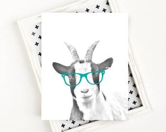 Goat Art Print, Farm Animal Nursery, Goat Printable, Goat with Glasses, Black and White Animal Art Print, 8x10 PRINTABLE Wall Art
