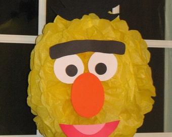 """Yellow Monster tissue paper pompom kit, inspired by """"Bert"""" from Sesame Street"""