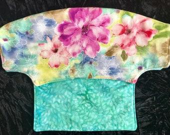 Watercolor flowers Lillebaby Bib - reversible - aqua