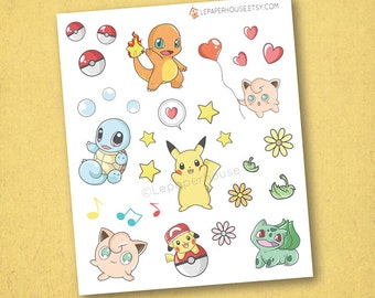 Pokemon Stickers - Kawaii Chibi Pokemon planner stickers, EC stickers, Personal Planners
