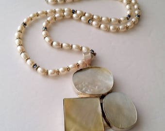 Vintage 925 Sterling Silver Pearl Necklace and Mother of Pearl Pendant