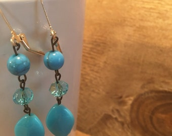 Bright Blue Beaded Dangle Earrings - Blue Summer Earrings - Neon Blue Earrings - Aqua Blue Dangle Earrings