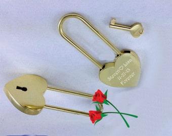 Love Lock, Heart Lock, Custom Lock, Gold Heart Love Padlock With Key, Engraved Lock Lock, Gold Padlock, Personalized Padlock, Free Engraving