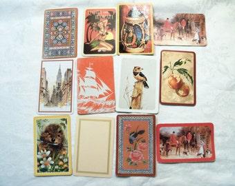 12 Playing Cards,  Playing Card Swap, Orange Playing Cards, Playing Card Lot, Orange