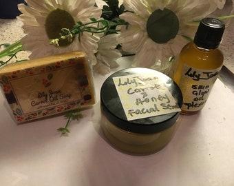 Carrot Soap + Facial Scrub + Skin Glow Oil