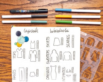 """Wardrobe Clothing Bullet Point Journal Stencil, fits Leuchtturm and Moleskine 5"""" by 7"""""""