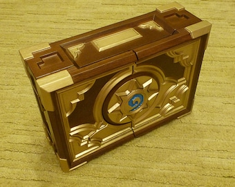 Custom HS Box Replica Wood Carving Birthday Gift Wooden Carved Casket Wood Carve Hearthstone Box Jewelry Warcraft Card Game