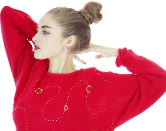 Ugly Christmas Sweater 90s Red Gem Gold Beaded 80s Winter Soft Fuzzy Angora Blend Retro Oversized Large L