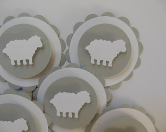 Sheep or Lamb Cupcake Toppers - Gray and White - Birthday Parties - Baptisms - Baby Showers - Set of 12