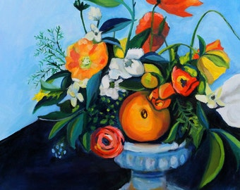 Floral still life with coral poppies and orange - large art print of original oil painting 11x17 PRINT wall decor