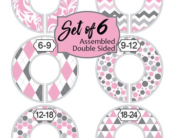 Closet Dividers Floral Baby Girl Pink Grey