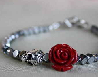 Womens Skull Bracelet, Girlfriend Gift, Skull Jewelry, Bead Bracelet, Sugar Skull Bracelet , Skull Bracelet, Gift For Girlfriend