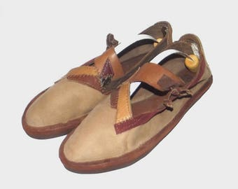 1970s shoes / vintage 70s slip-ons / size 8 / Brown Patchwork Leather Slip-ons