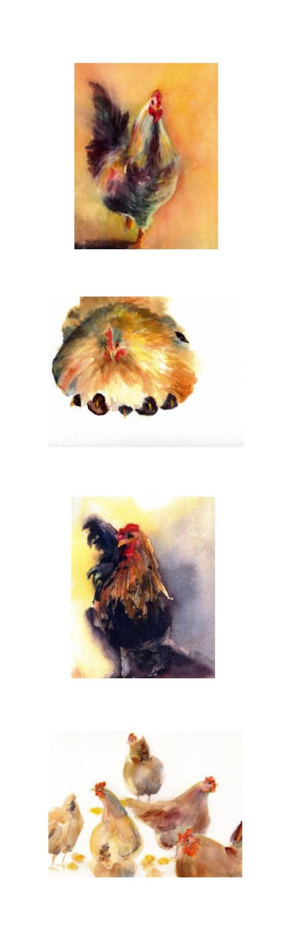 8x26 - chickens and roosters 4 signed watercolor prints by Bonnie White