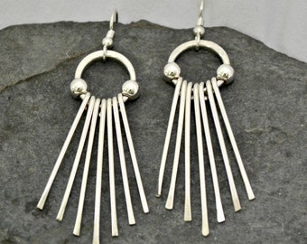 Sterling silver fringe earrings.  Silver dangle earrings.  hand forged.