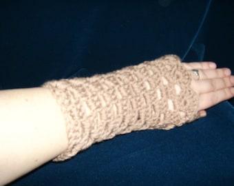 Crocheted Tan Fingerless Gloves Armwarmers