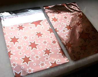 10 8x6cm packaging pouches gift metalic star Brown bags with tape flap
