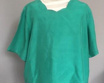 Vintage Green Blouse | Size 14