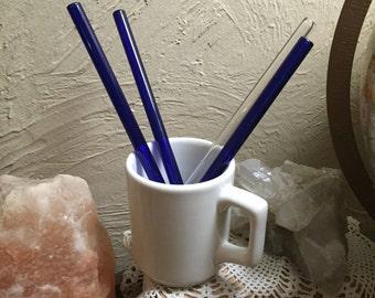 3 Cobalt 1 Clear Straws  i~SHARE glass